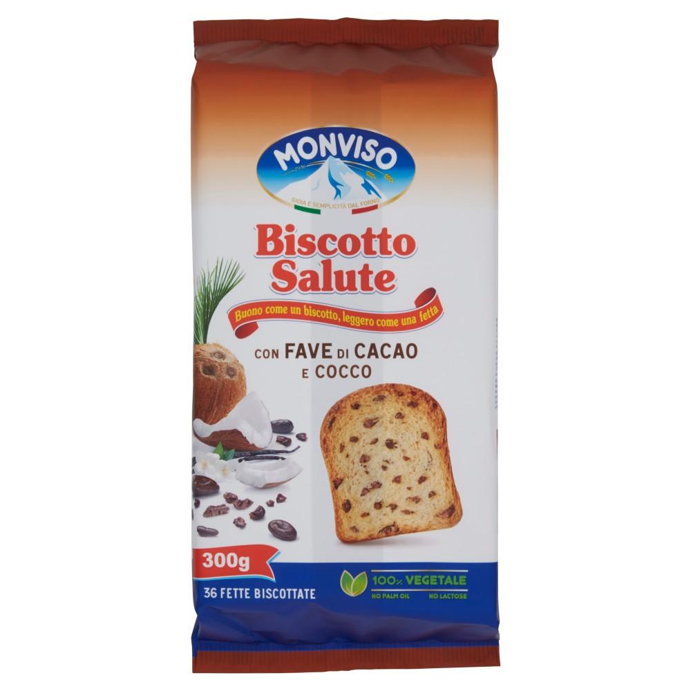 Monviso Biscotto Salute con Fave di Cacao e Cocco 36 Fette Biscottate