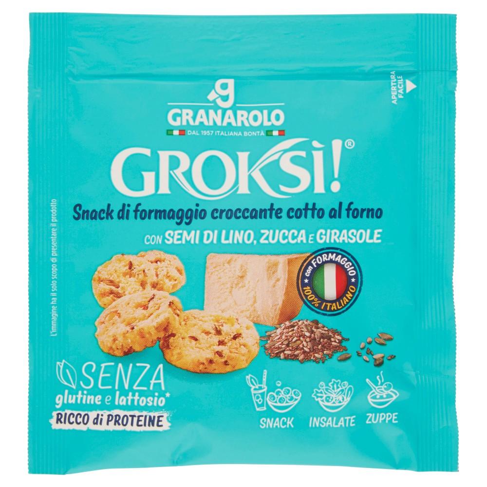 Groksì! Snack di formaggio croccante cotto al forno con Semi di Lino, Zucca e Girasole