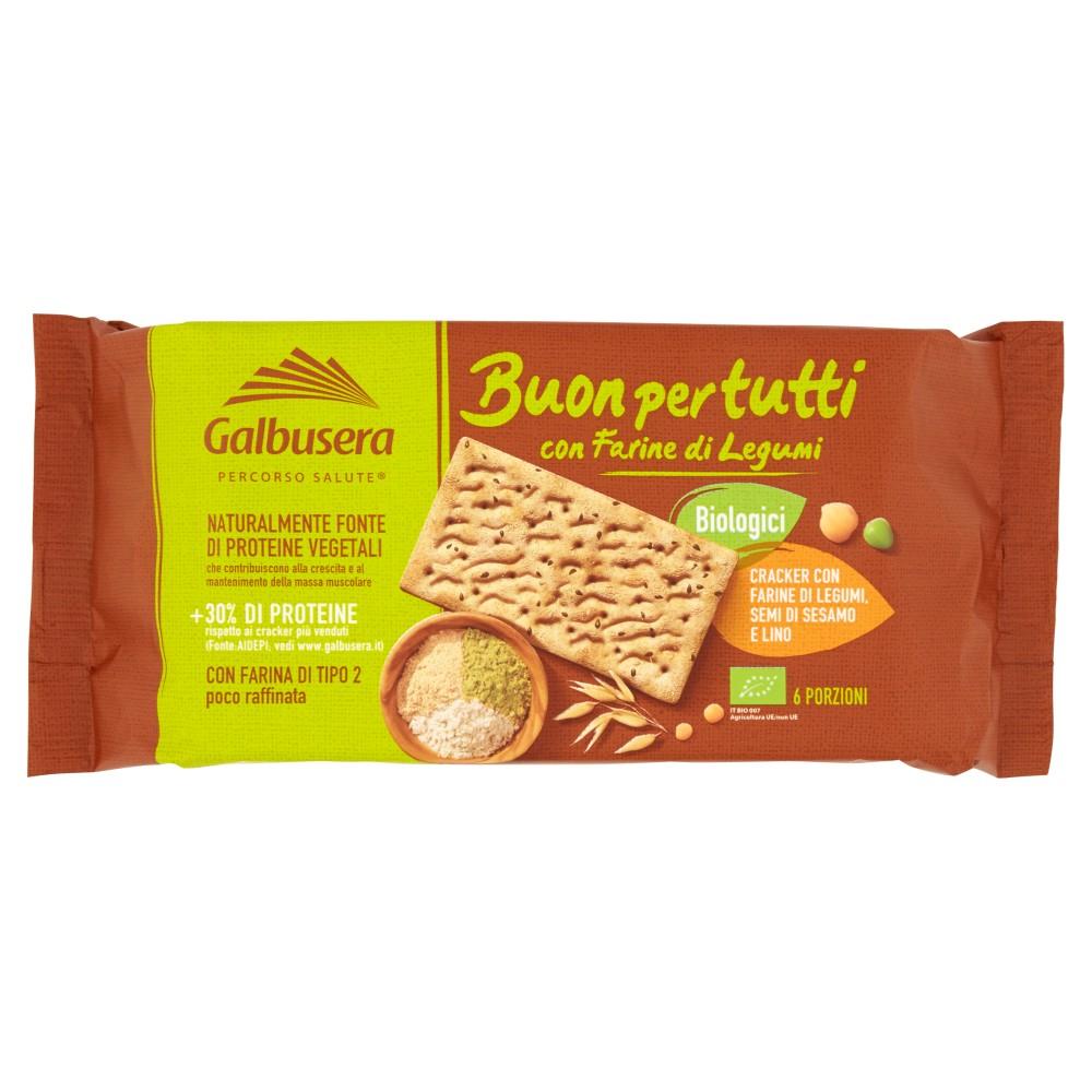 Galbusera Buonpertutti Cracker con Farine di Legumi, Semi di Sesamo e Lino