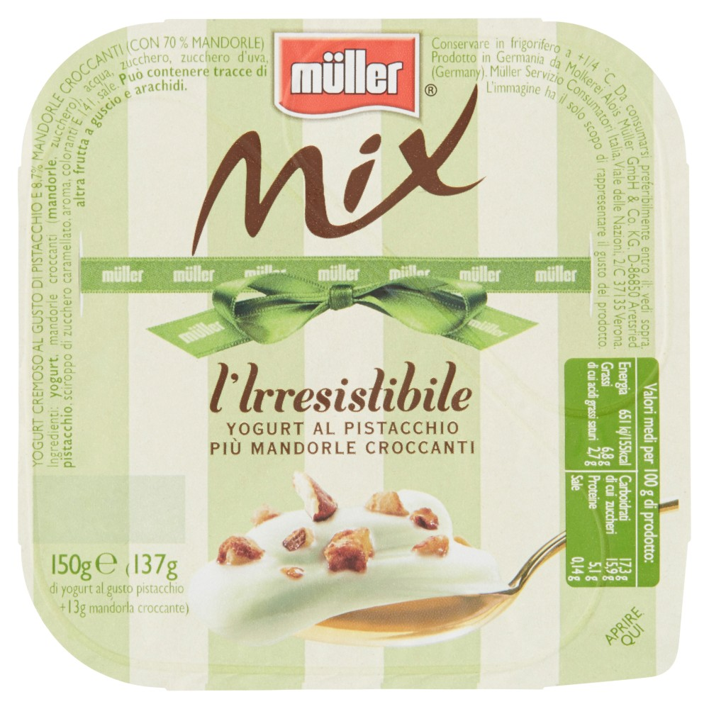 Müller Mix l'Irresistibile yogurt al pistacchio più mandorle croccanti