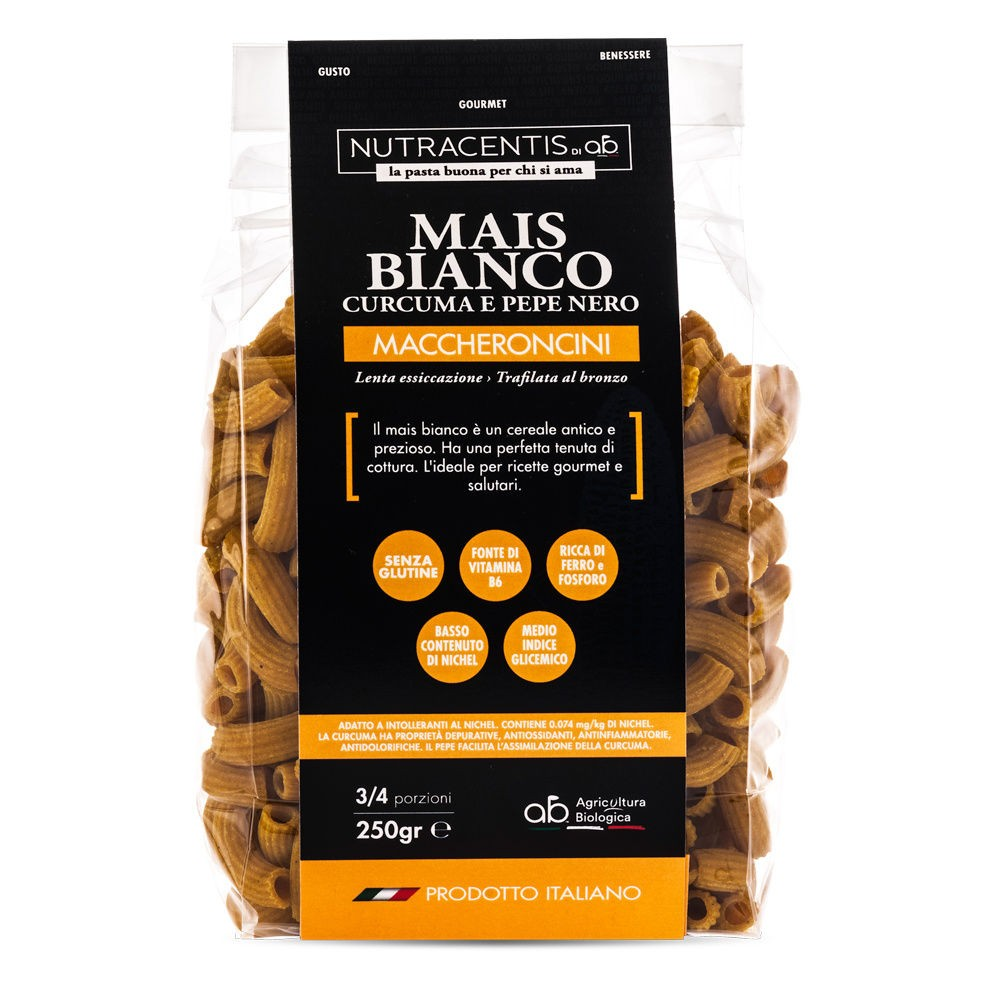 Maccheroncini di Mais bianco con curcuma e pepe (bio, gluten free)