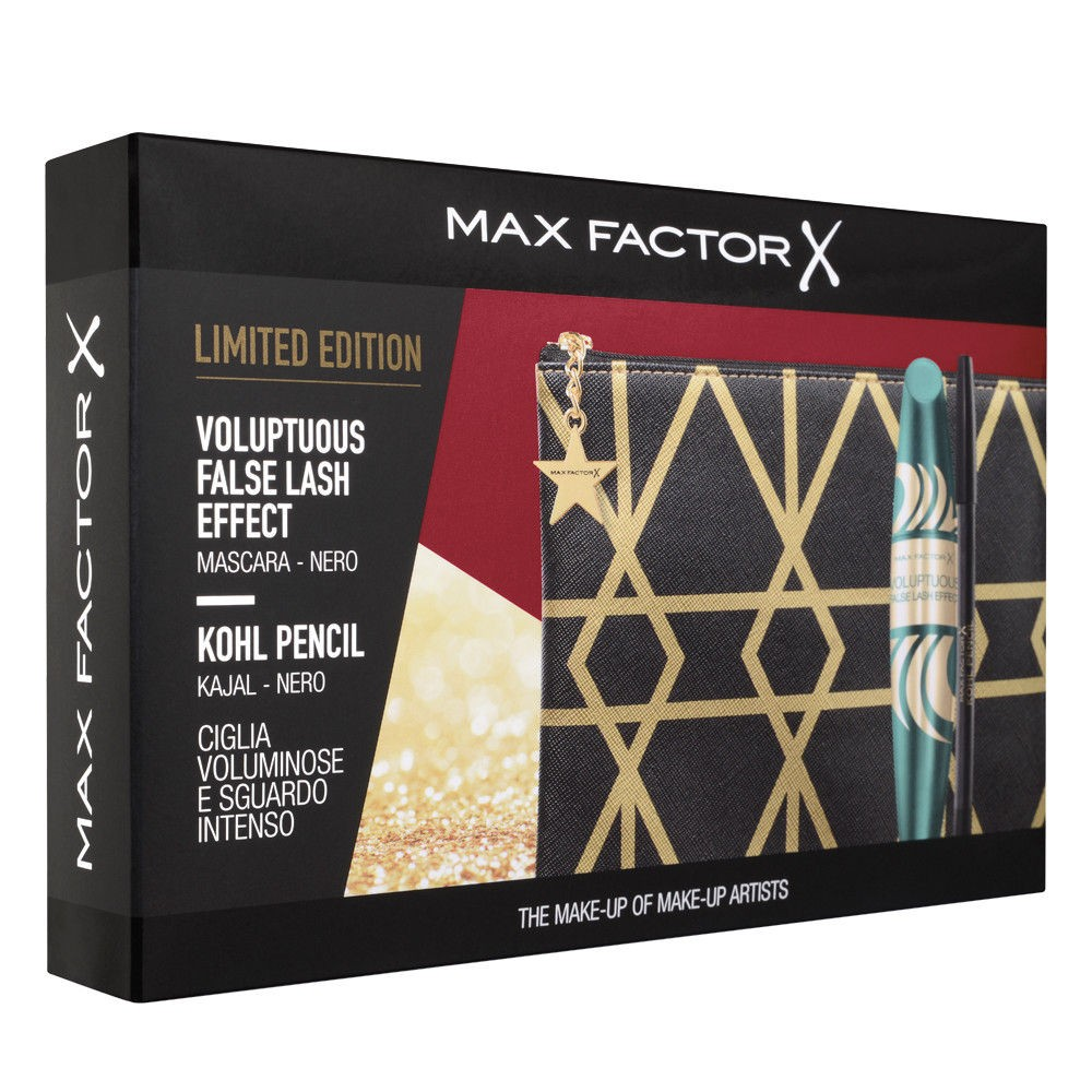 MAX FACTOR COFANETTO - MASCARA VOLUPTUOUS FALSE LASH EFFECT NERO + MATITA KOHL PENCIL NERO