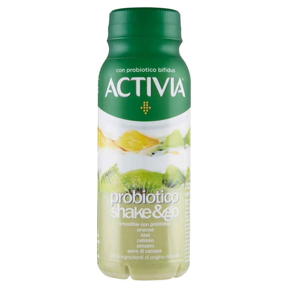 Activia probiotico shake&go ananas kiwi cetriolo zenzero semi di canapa