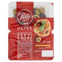 Polli, olive verdi e nere a rondelle