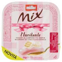 müller Mix l'Invitante Yogurt al Lampone più Wafer Ricopereti di Cioccolato Bianco