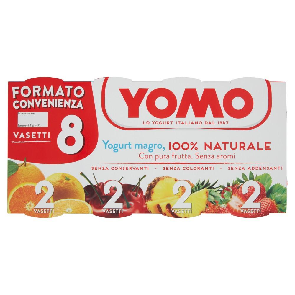Yomo, yogurt 100% Naturale zero grassi agrumi di Sicilia/ciliegie e amarene/ananas/fragole