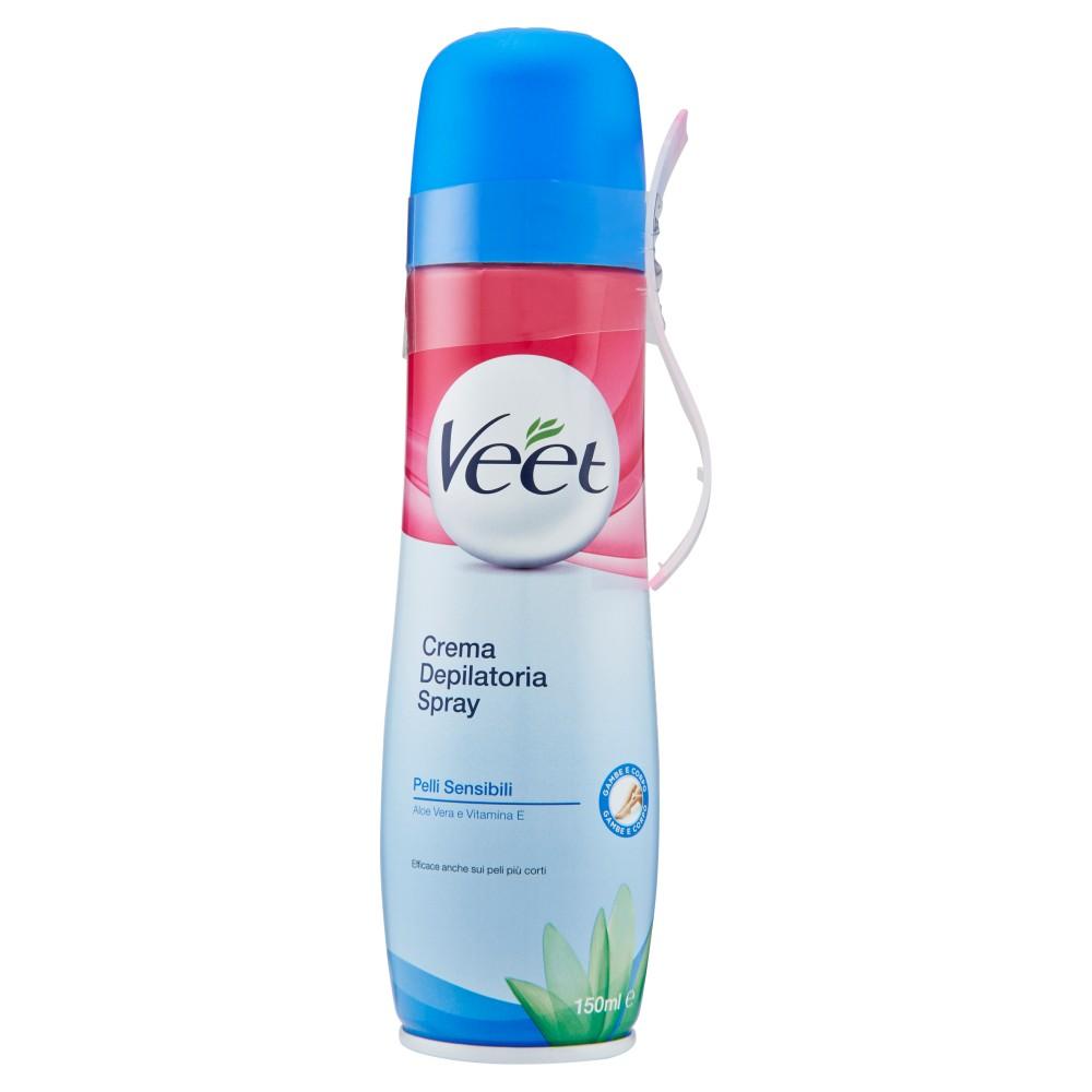 Veet Crema Depilatoria Spray Gambe e Corpo Pelli Sensibili