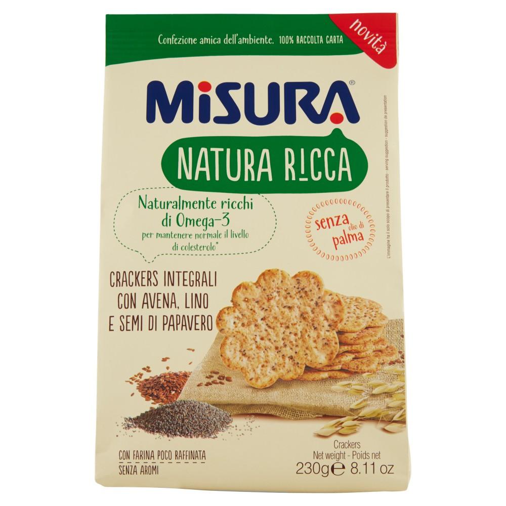 Misura Natura Ricca Crackers Integrali con Avena, Lino e Semi di Papavero