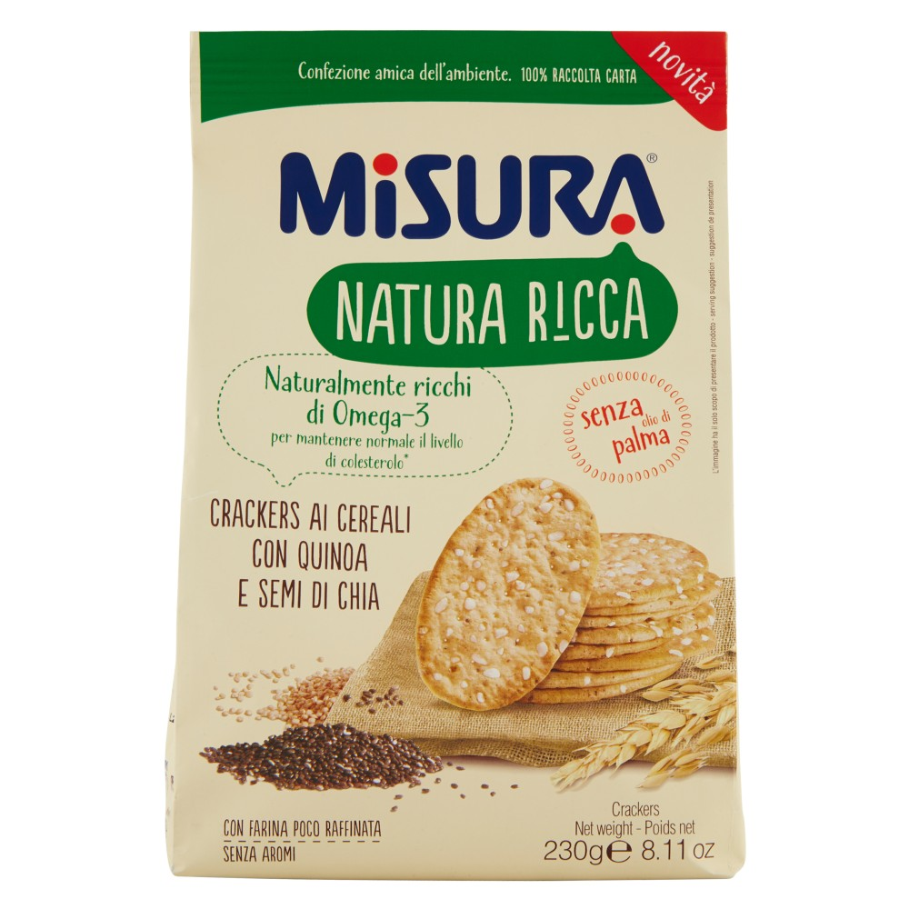 Misura Natura Ricca Crackers ai Cereali con Quinoa e Semi di Chia