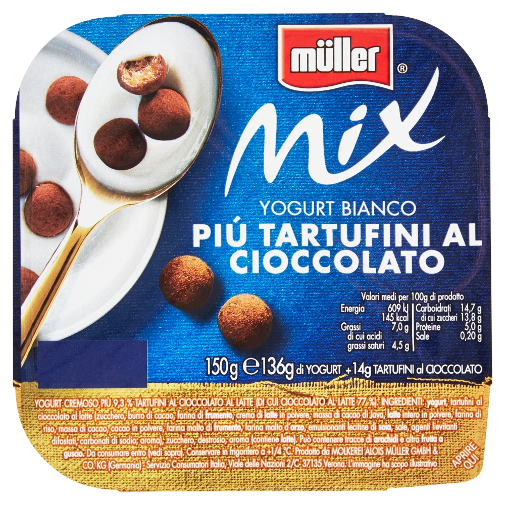 Müller Mix Yogurt Bianco Più Tartufini Al Cioccolato Yogurt E