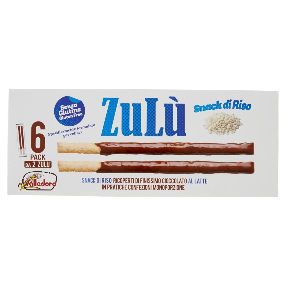Valledoro Zulù Snack di Riso Ricoperti di Finissimo Cioccolato al Latte