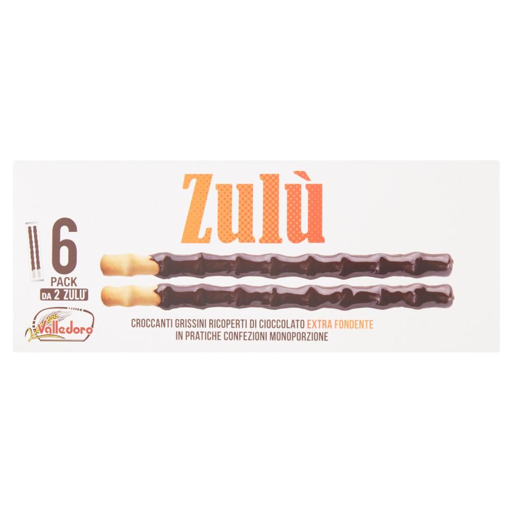 Valledoro Zulù Croccanti Grissini Ricoperti di Cioccolato Extra Fondente