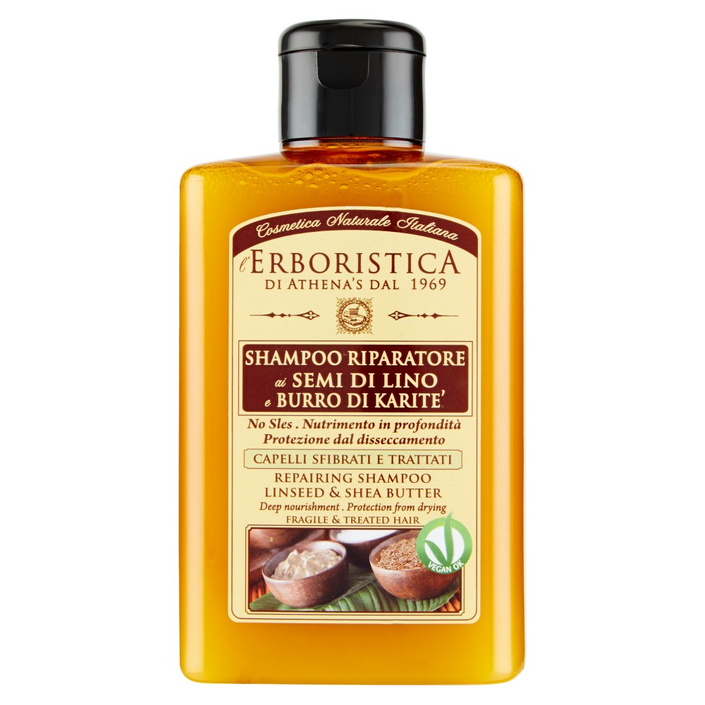 l'Erboristica Shampoo riparatore ai Semi di Lino e Burro di Karitè capelli sfibrati e trattati