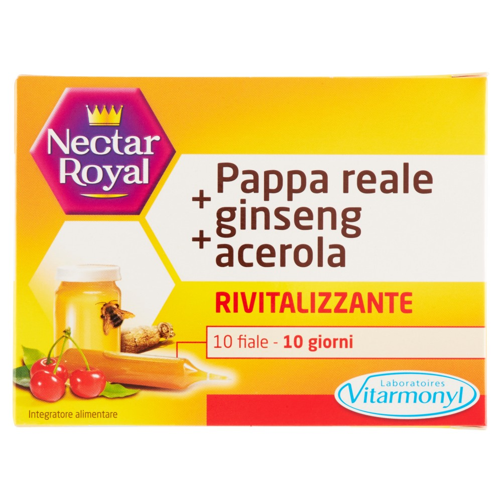 Nectar Royal Pappa reale + ginseng + acerola Rivitalizzante 10 fiale