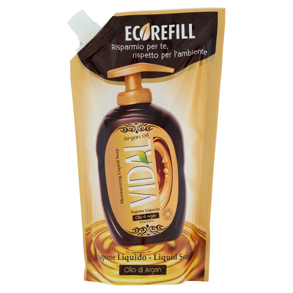 Vidal Sapone liquido olio argan ecorefill