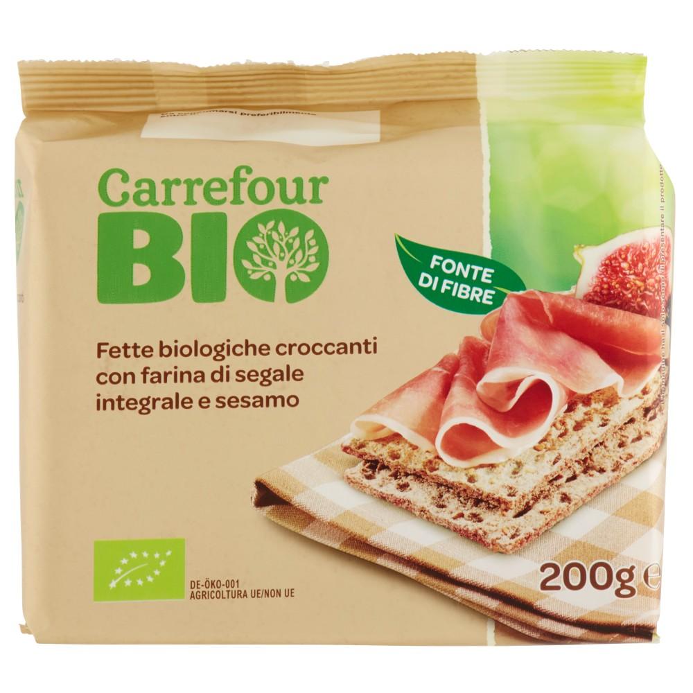 Carrefour Bio Fette biologiche croccanti con farina di segale integrale e sesamo
