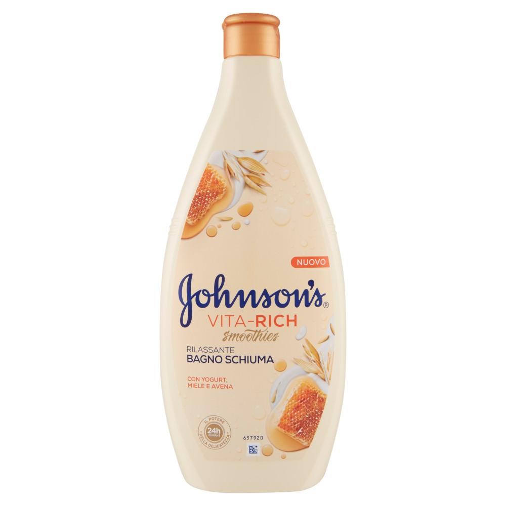 Johnson's Vita-Rich smoothies Bagno Schiuma Rilassante con Yogurt, Miele e Avena