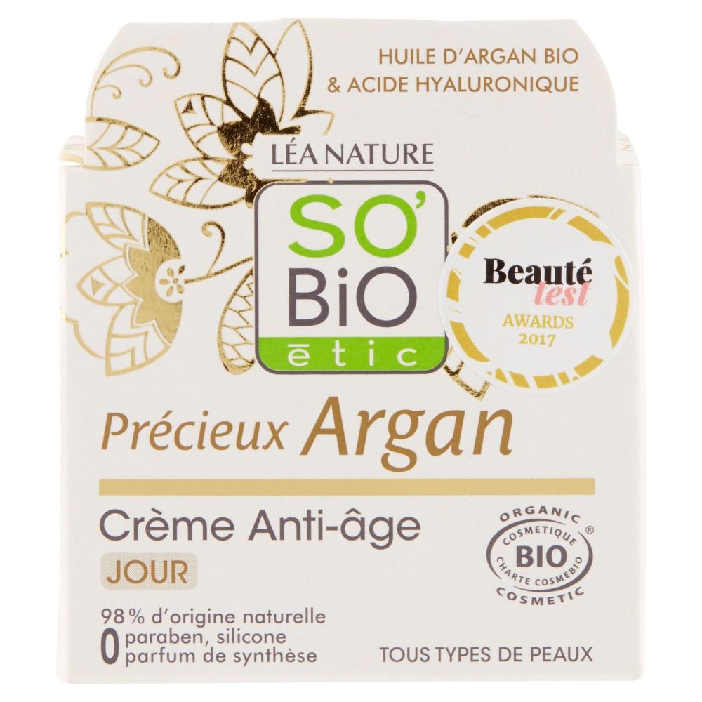 SO'BiO étic Précieux Argan Crème Anti-Âge Jour Tous Types de Peaux