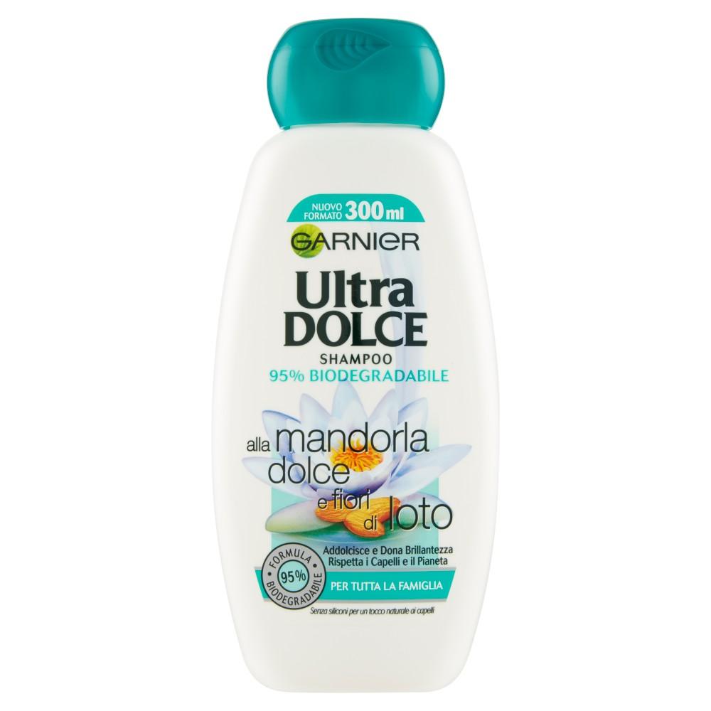 Garnier Ultra Dolce Shampoo alla Mandorla e Fiori di Loto, senza parabeni, coloranti, siliconi