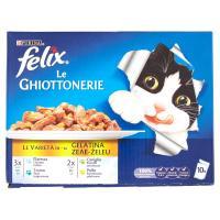 Purina, gatto Felix Le Ghiottonerie le varietà in gelatina platessa tonno coniglio pollo