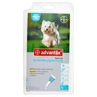 Advantix Soluzione elimina zecche e pulci, repelle zecche, zanzare, flebotomi e mosche cavalline, 4 pipette da 2,5 ml, per cani oltre 4 kg fino a