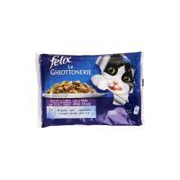 Felix Le Ghiottonerie, Cibo per Gatti, Selezioni con Carni in Gelatina, con Agnello e con Coniglio - 4 buste da 100 g [400 g]