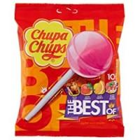 Chupa Chups Lecca Lecca The Best Of, Lollipop Frutti Assortiti Gusto Cola, Fragola, Arancia e Panna Fragola, senza Glutine, Busta da 10 Lollipop Monopezzi