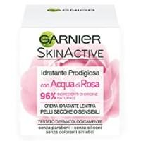 Garnier Crema Viso Idratante Lenitiva Skinactive, Ottima per Pelli Secche o Sensibili, Arricchita con Acqua di Rosa