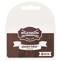 WILKINSON Sword - Lame di Ricarica Quattro Titanium Vintage Edition - Pack 4 Lame di Ricarica Uomo