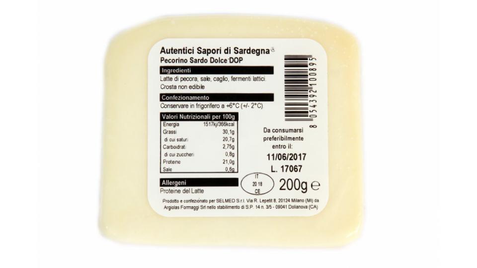Autentici Sapori di Sardegna Pecorino Sardo Dolce DOP-