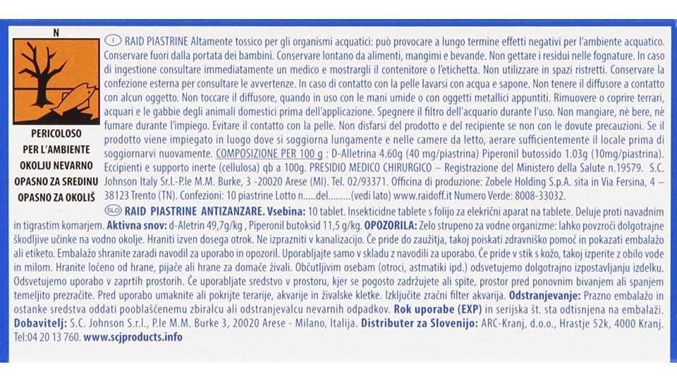 Raid Piastrine Zanzare Ricarica