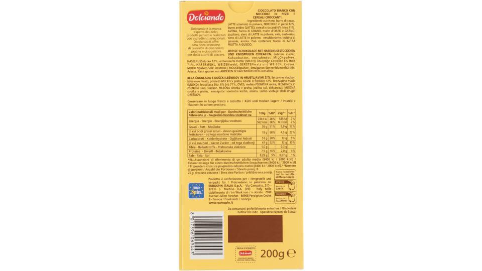 Tavolette Cioccolato Bianco con Nocciole e Cereali