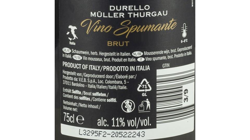 Durello Müller Thurgau Bianco Spumante, 11% Vol.
