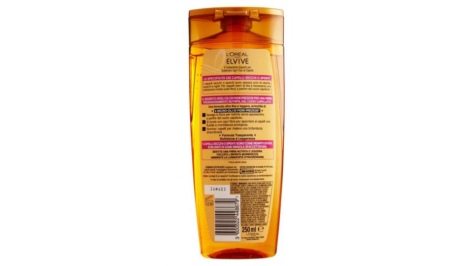 Elvive Olio Straordinario Shampoo nutriente capelli secchi o spenti