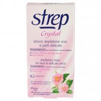 Strep Crystal Strisce Depilatorie Viso E Parti Delicate 20 Strisce + 4 Salviettine Post-epilazione