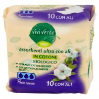 Assorbenti Ultra con Ali in Cotone Biologico Flusso Intenso 10 Pz